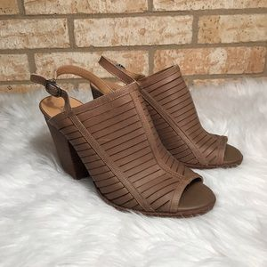 Lucky Brand Lialor Peep-Toe Leather Brown Heels